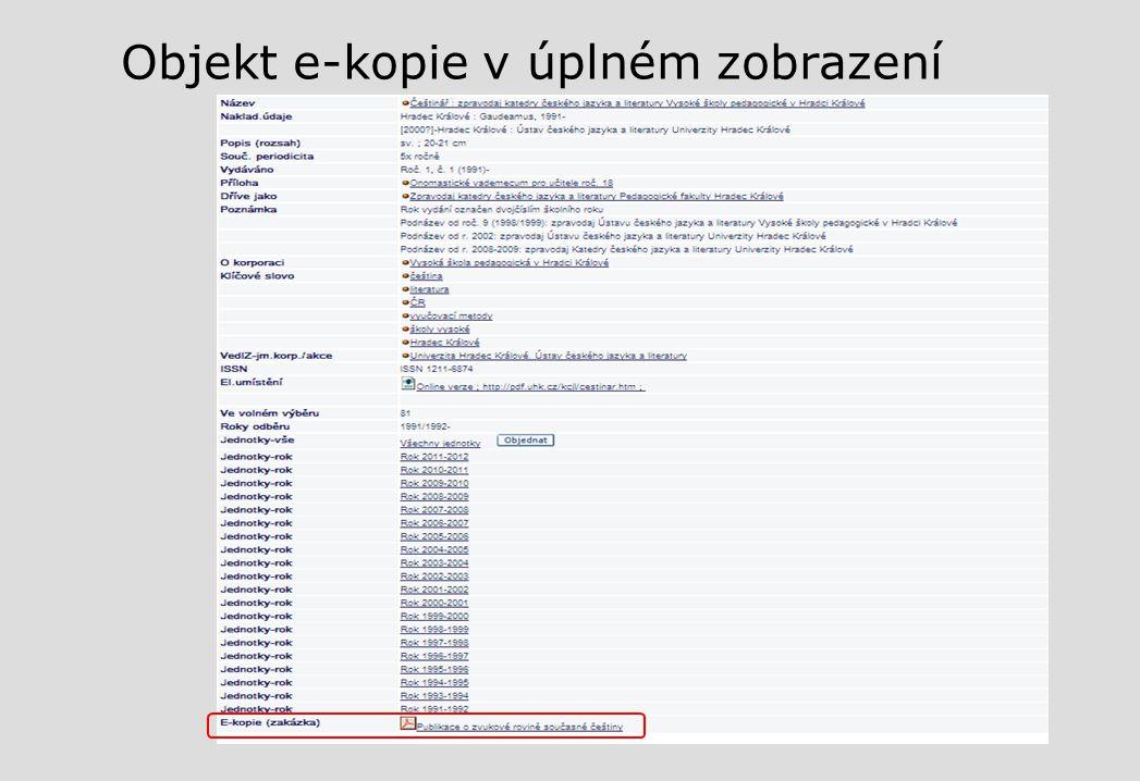 Objekt e-kopie v úplném zobrazení