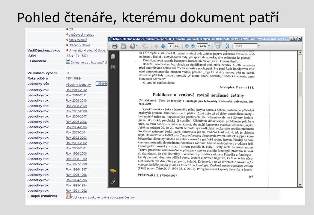 Pohled čtenáře, kterému dokument patří