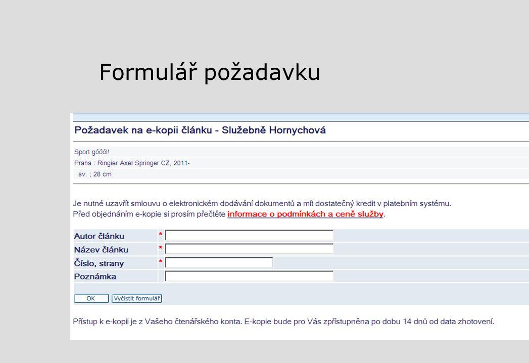 Formulář požadavku