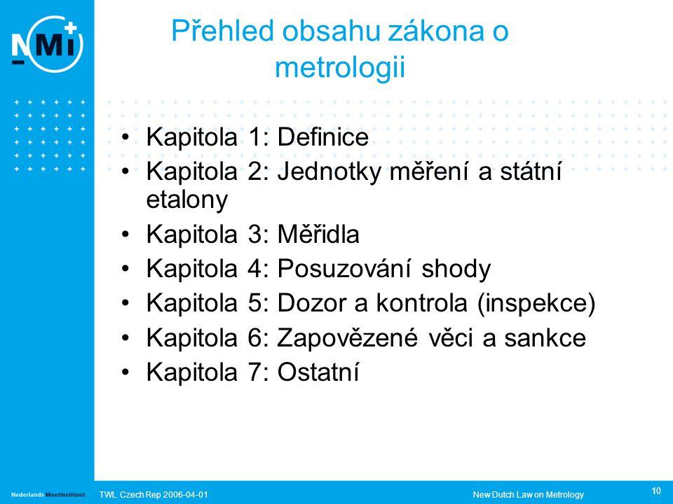 TWL Czech Rep 2006-04-01New Dutch Law on Metrology 10 Přehled obsahu zákona o metrologii Kapitola 1: Definice Kapitola 2: Jednotky měření a státní etalony Kapitola 3: Měřidla Kapitola 4: Posuzování shody Kapitola 5: Dozor a kontrola (inspekce) Kapitola 6: Zapovězené věci a sankce Kapitola 7: Ostatní