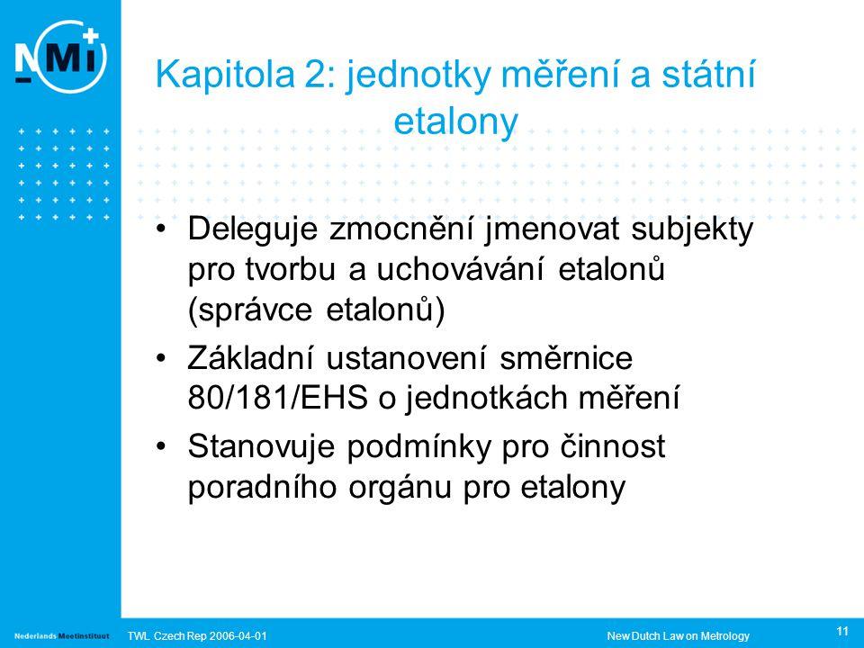TWL Czech Rep 2006-04-01New Dutch Law on Metrology 11 Kapitola 2: jednotky měření a státní etalony Deleguje zmocnění jmenovat subjekty pro tvorbu a uchovávání etalonů (správce etalonů) Základní ustanovení směrnice 80/181/EHS o jednotkách měření Stanovuje podmínky pro činnost poradního orgánu pro etalony