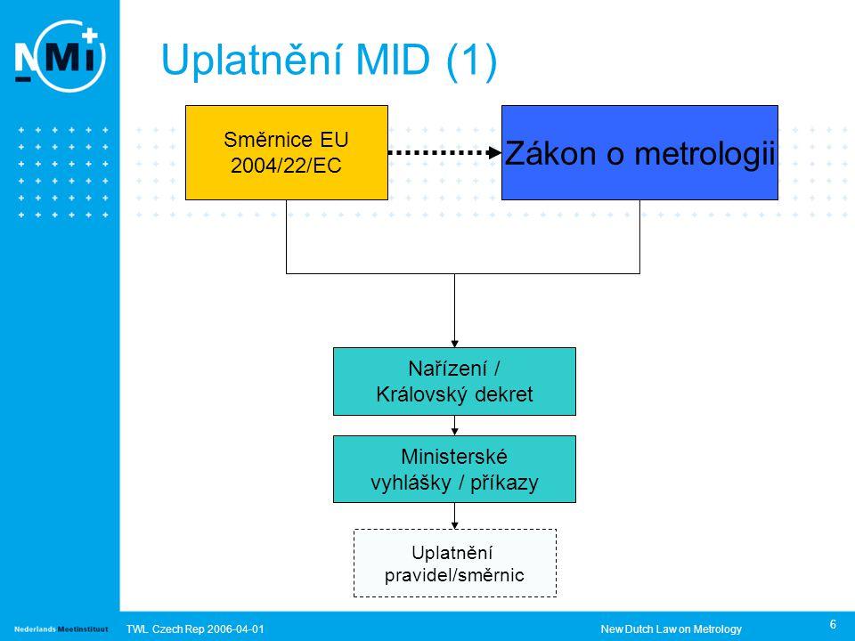 TWL Czech Rep 2006-04-01New Dutch Law on Metrology 6 Uplatnění MID (1) Směrnice EU 2004/22/EC Zákon o metrologii Nařízení / Královský dekret Ministerské vyhlášky / příkazy Uplatnění pravidel/směrnic