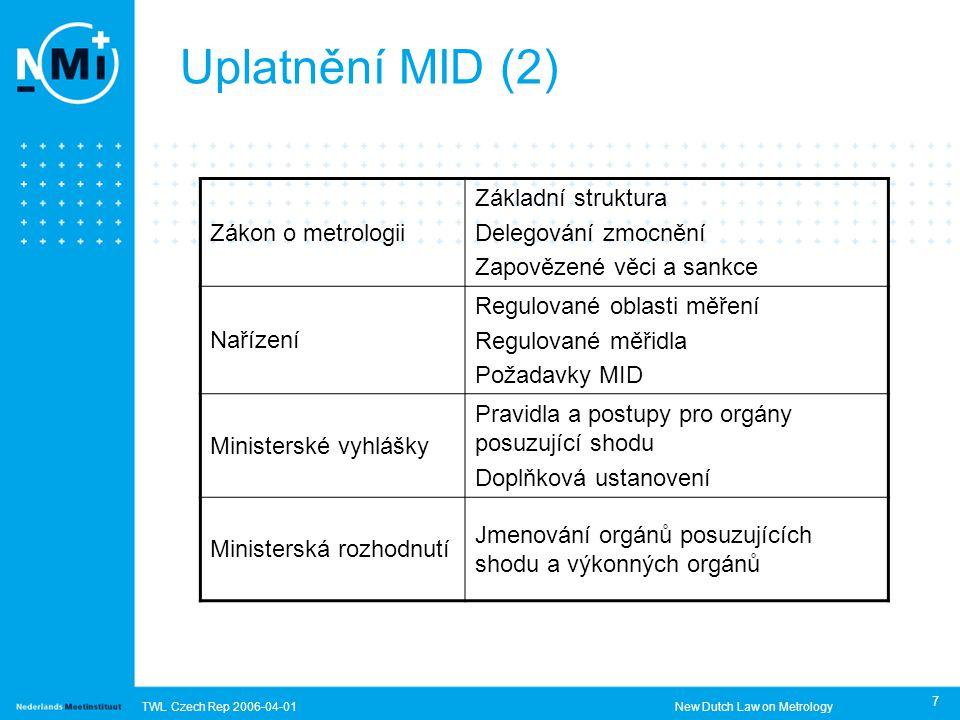 TWL Czech Rep 2006-04-01New Dutch Law on Metrology 7 Uplatnění MID (2) Zákon o metrologii Základní struktura Delegování zmocnění Zapovězené věci a sankce Nařízení Regulované oblasti měření Regulované měřidla Požadavky MID Ministerské vyhlášky Pravidla a postupy pro orgány posuzující shodu Doplňková ustanovení Ministerská rozhodnutí Jmenování orgánů posuzujících shodu a výkonných orgánů