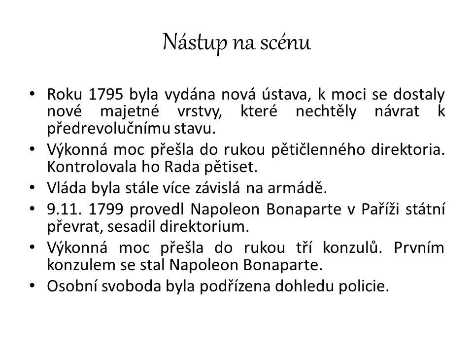 Nástup na scénu Roku 1795 byla vydána nová ústava, k moci se dostaly nové majetné vrstvy, které nechtěly návrat k předrevolučnímu stavu. Výkonná moc p