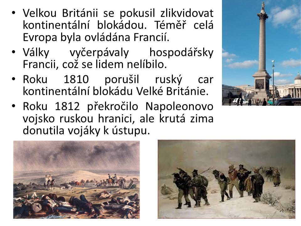 Velkou Británii se pokusil zlikvidovat kontinentální blokádou. Téměř celá Evropa byla ovládána Francií. Války vyčerpávaly hospodářsky Francii, což se