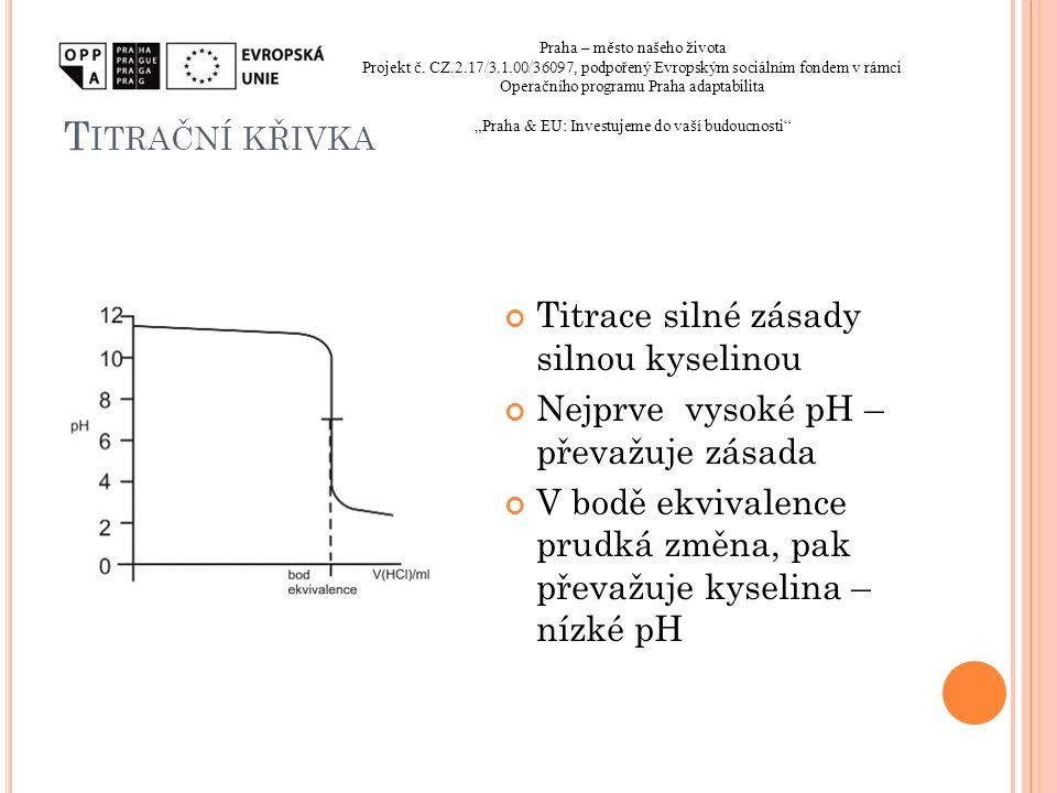 T ITRAČNÍ KŘIVKA Titrace silné zásady silnou kyselinou Nejprve vysoké pH – převažuje zásada V bodě ekvivalence prudká změna, pak převažuje kyselina –