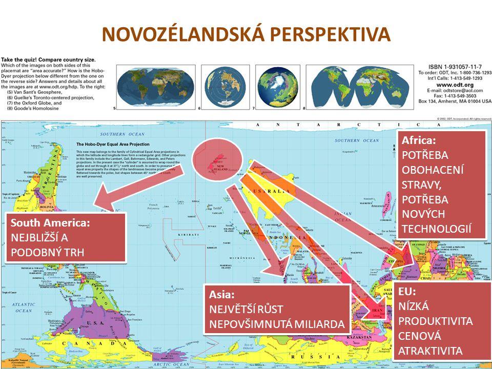 NOVOZÉLANDSKÁ PERSPEKTIVA South America: NEJBLIŽŠÍ A PODOBNÝ TRH South America: NEJBLIŽŠÍ A PODOBNÝ TRH Asia: NEJVĚTŠÍ RŮST NEPOVŠIMNUTÁ MILIARDA Asia: NEJVĚTŠÍ RŮST NEPOVŠIMNUTÁ MILIARDA EU: NÍZKÁ PRODUKTIVITA CENOVÁ ATRAKTIVITA EU: NÍZKÁ PRODUKTIVITA CENOVÁ ATRAKTIVITA Africa: POTŘEBA OBOHACENÍ STRAVY, POTŘEBA NOVÝCH TECHNOLOGIÍ Africa: POTŘEBA OBOHACENÍ STRAVY, POTŘEBA NOVÝCH TECHNOLOGIÍ