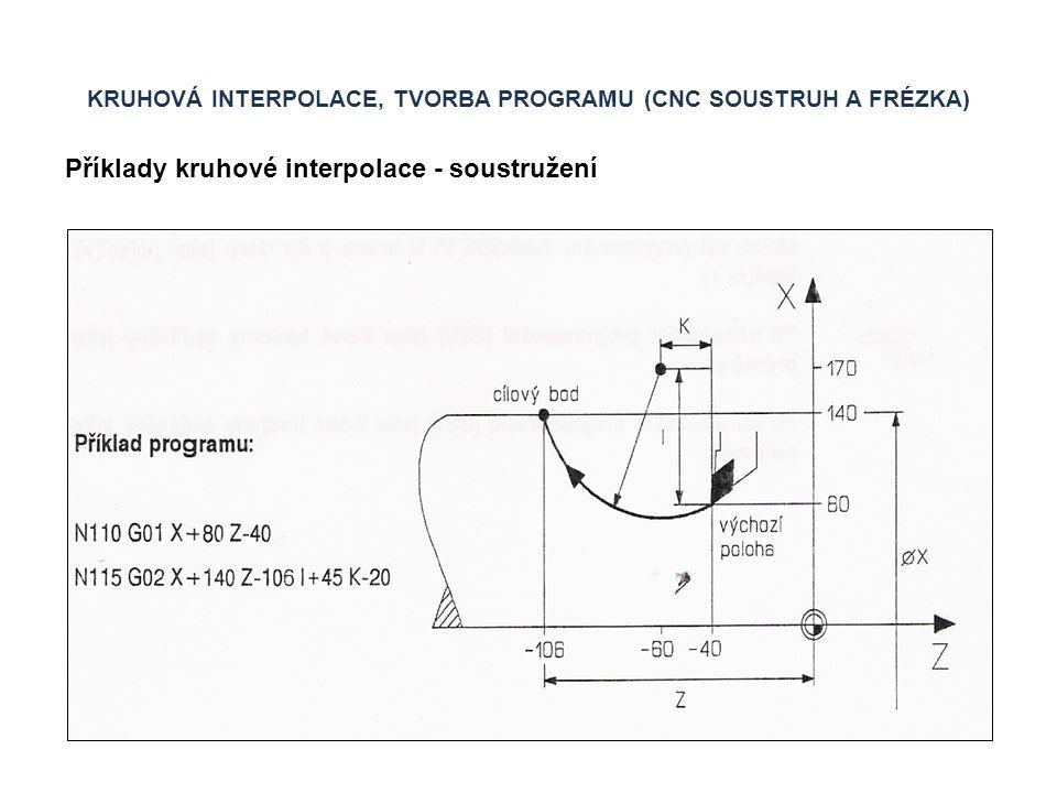 KRUHOVÁ INTERPOLACE, TVORBA PROGRAMU (CNC SOUSTRUH A FRÉZKA) Příklady kruhové interpolace - soustružení