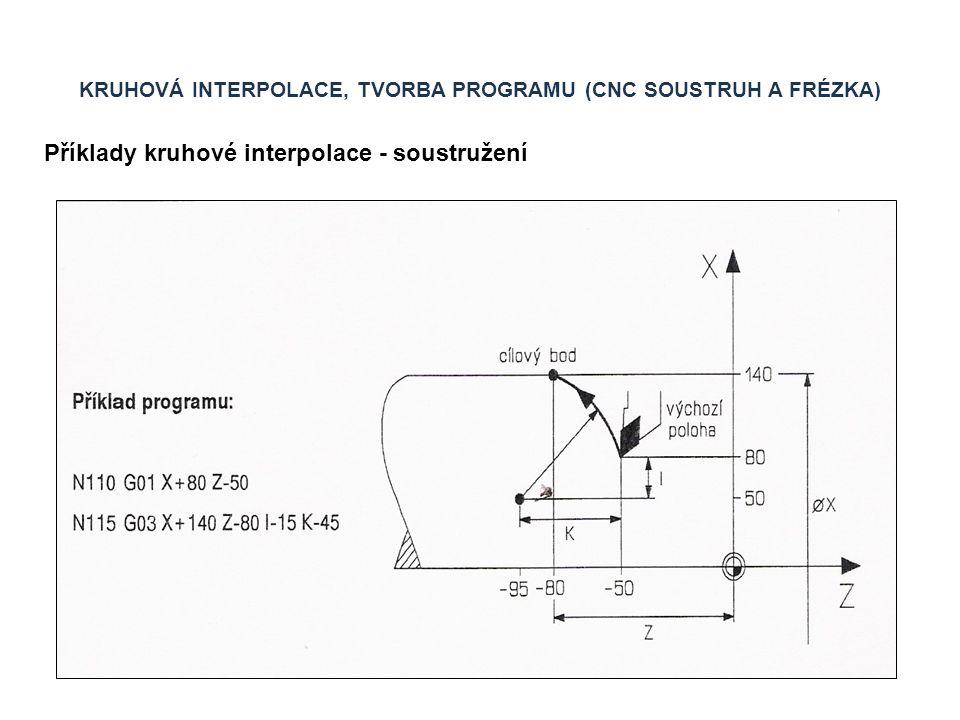 KRUHOVÁ INTERPOLACE, TVORBA PROGRAMU (CNC SOUSTRUH A FRÉZKA) Příklady kruhové interpolace - frézování