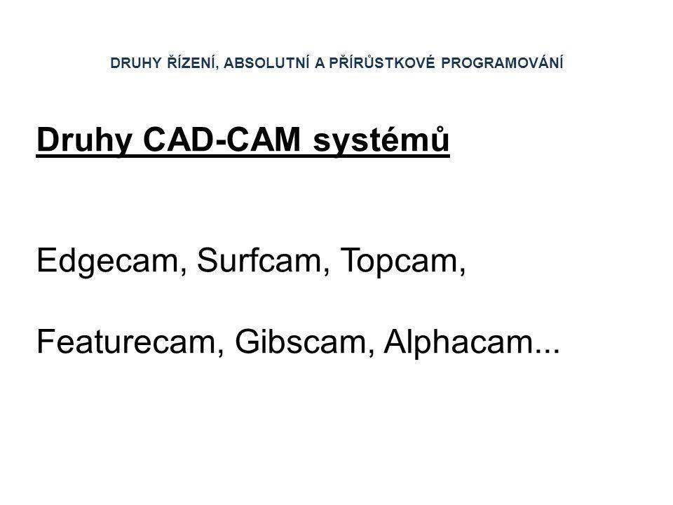 DRUHY ŘÍZENÍ, ABSOLUTNÍ A PŘÍRŮSTKOVÉ PROGRAMOVÁNÍ Druhy CAD-CAM systémů Edgecam, Surfcam, Topcam, Featurecam, Gibscam, Alphacam...
