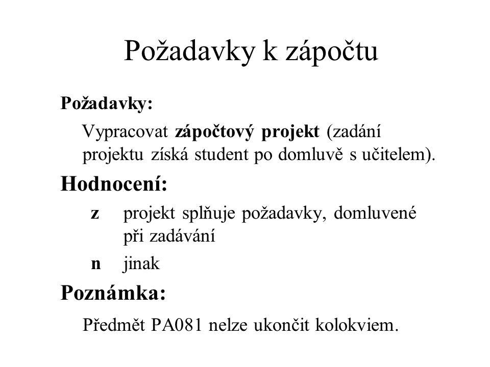 Požadavky k zápočtu Požadavky: Vypracovat zápočtový projekt (zadání projektu získá student po domluvě s učitelem).