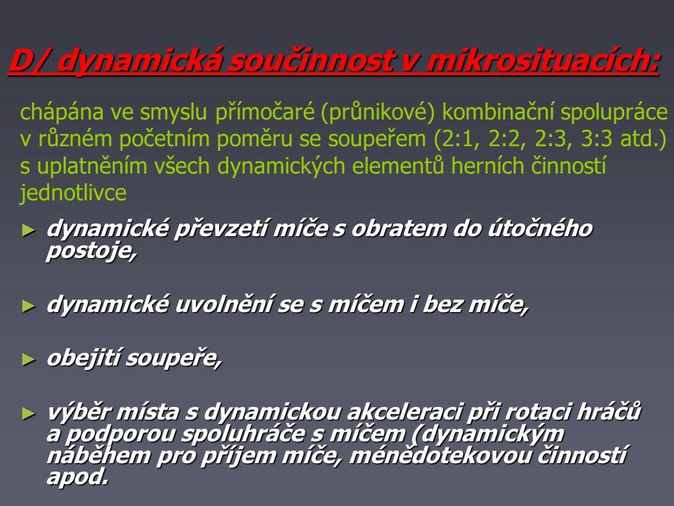 D/ dynamická součinnost v mikrosituacích: ► dynamické převzetí míče s obratem do útočného postoje, ► dynamické uvolnění se s míčem i bez míče, ► obejití soupeře, ► výběr místa s dynamickou akceleraci při rotaci hráčů a podporou spoluhráče s míčem (dynamickým náběhem pro příjem míče, ménědotekovou činností apod.