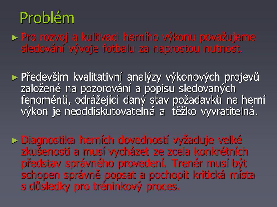 Problém ► Pro rozvoj a kultivaci herního výkonu považujeme sledování vývoje fotbalu za naprostou nutnost.