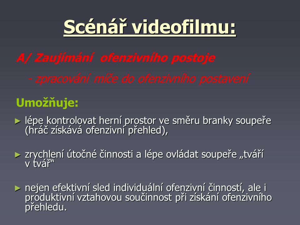 Scénář videofilmu: ► lépe kontrolovat herní prostor ve směru branky soupeře (hráč získává ofenzivní přehled), ► zrychlení útočné činnosti a lépe ovlád