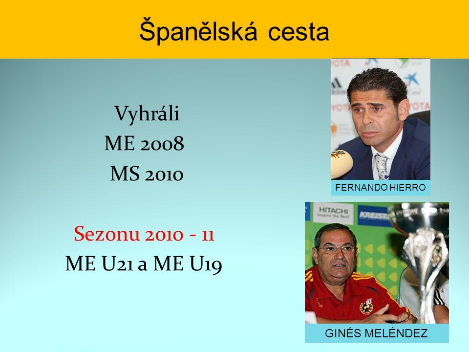 Španělská cesta Vyhráli ME 2008 MS 2010 Sezonu 2010 - 11 ME U21 a ME U19 GINÉS MELÉNDEZ FERNANDO HIERRO