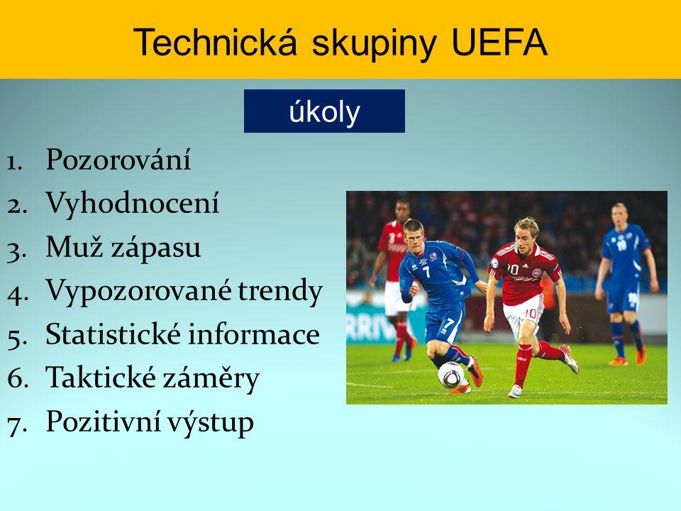Technická skupiny UEFA 1. Pozorování 2. Vyhodnocení 3. Muž zápasu 4. Vypozorované trendy 5. Statistické informace 6. Taktické záměry 7. Pozitivní výst