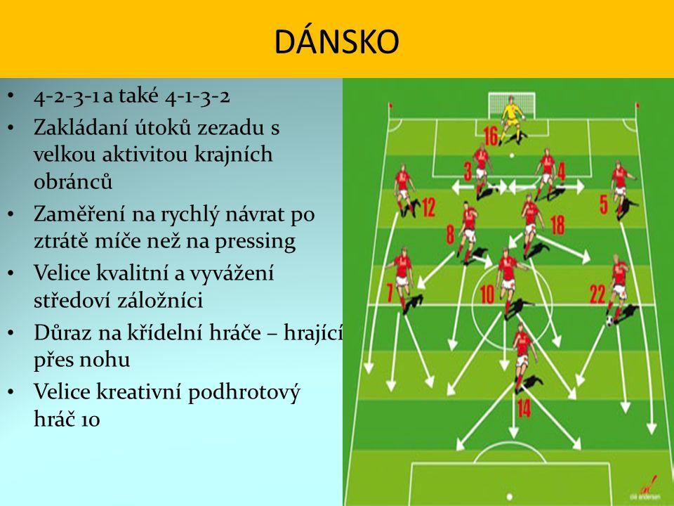 DÁNSKO 4-2-3-1 a také 4-1-3-2 Zakládaní útoků zezadu s velkou aktivitou krajních obránců Zaměření na rychlý návrat po ztrátě míče než na pressing Veli