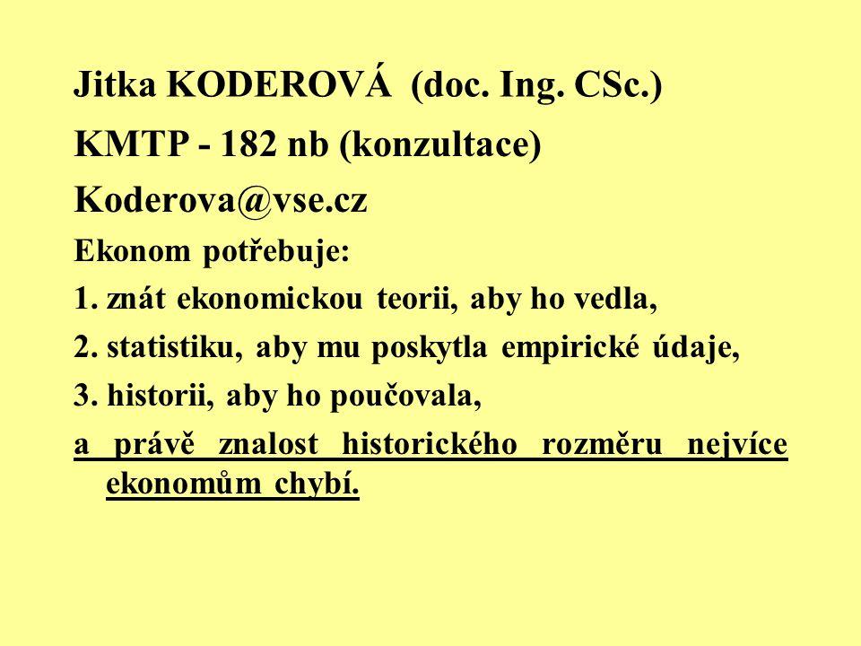 Jitka KODEROVÁ (doc. Ing. CSc.) KMTP - 182 nb (konzultace) Koderova@vse.cz Ekonom potřebuje: 1. znát ekonomickou teorii, aby ho vedla, 2. statistiku,
