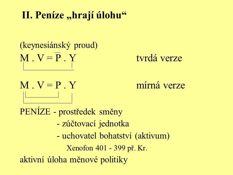 """II. Peníze """"hrají úlohu"""" (keynesiánský proud) M. V = P. Ytvrdá verze M. V = P. Ymírná verze PENÍZE - prostředek směny - zúčtovací jednotka - uchovatel"""