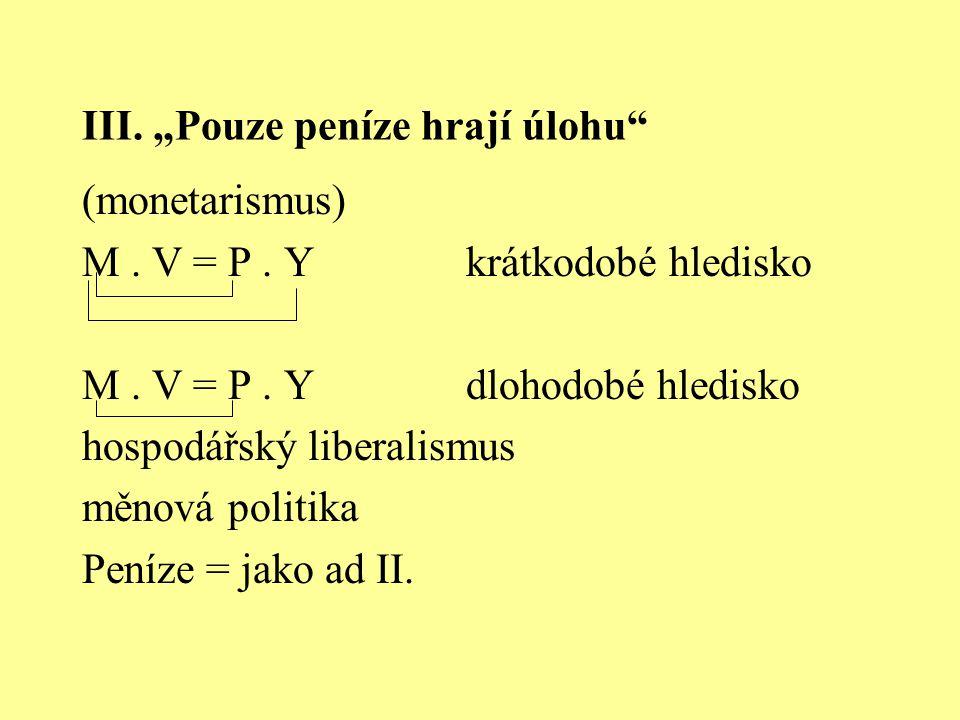 """III. """"Pouze peníze hrají úlohu"""" (monetarismus) M. V = P. Ykrátkodobé hledisko M. V = P. Ydlohodobé hledisko hospodářský liberalismus měnová politika P"""