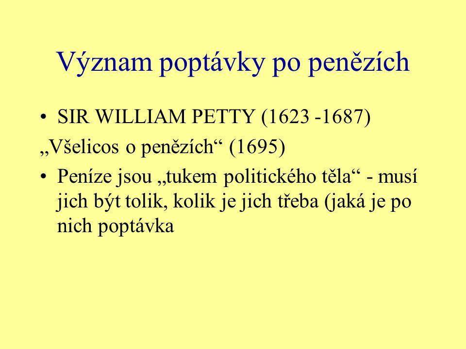 """Význam poptávky po penězích SIR WILLIAM PETTY (1623 -1687) """"Všelicos o penězích"""" (1695) Peníze jsou """"tukem politického těla"""" - musí jich být tolik, ko"""