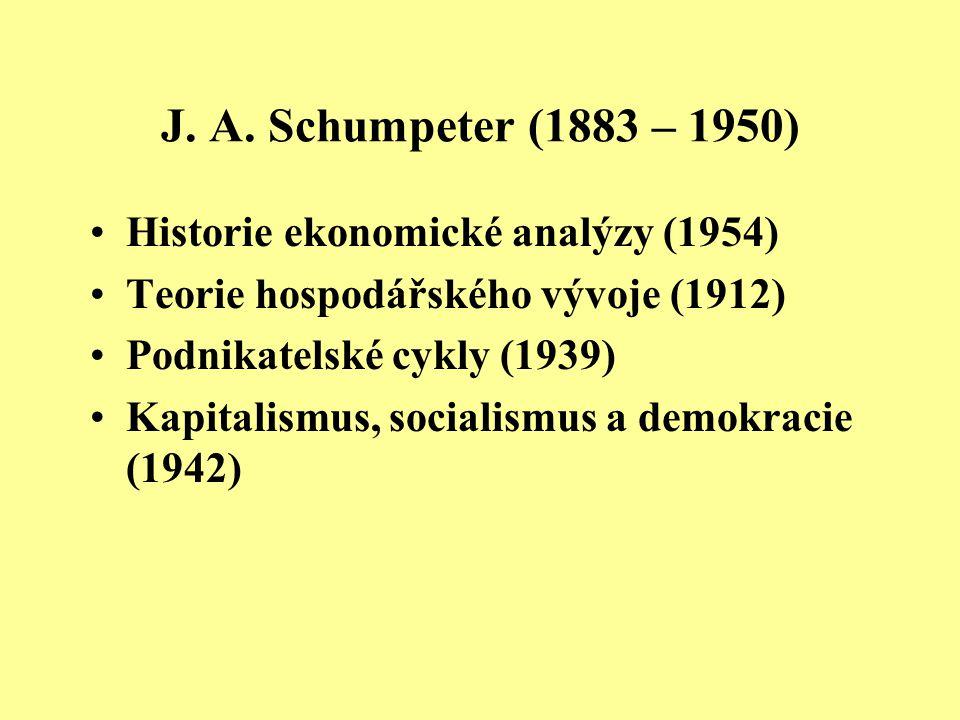 J. A. Schumpeter (1883 – 1950) Historie ekonomické analýzy (1954) Teorie hospodářského vývoje (1912) Podnikatelské cykly (1939) Kapitalismus, socialis