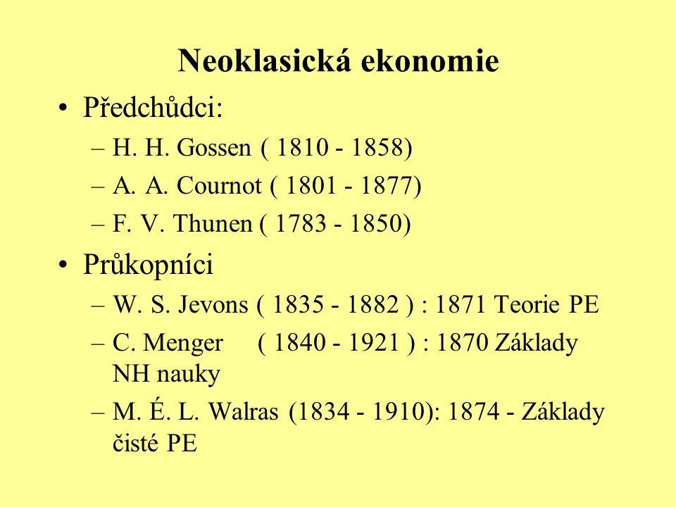 Neoklasická ekonomie Předchůdci: –H. H. Gossen ( 1810 - 1858) –A. A. Cournot ( 1801 - 1877) –F. V. Thunen ( 1783 - 1850) Průkopníci –W. S. Jevons ( 18