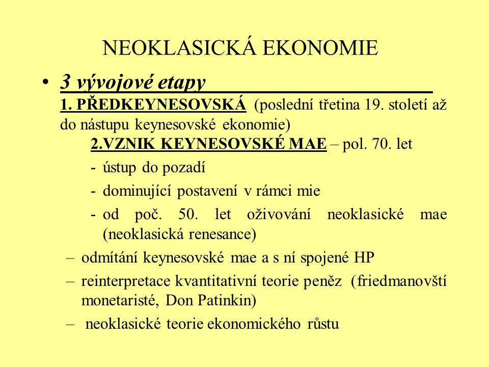 NEOKLASICKÁ EKONOMIE 3 vývojové etapy 1. PŘEDKEYNESOVSKÁ (poslední třetina 19. století až do nástupu keynesovské ekonomie) 2.VZNIK KEYNESOVSKÉ MAE – p