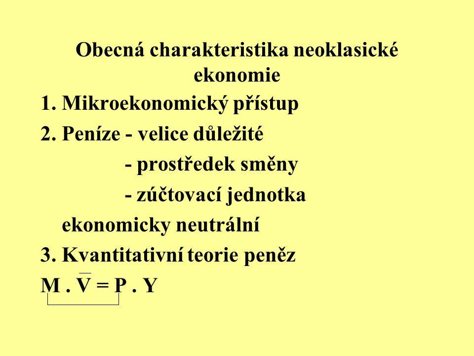Obecná charakteristika neoklasické ekonomie 1. Mikroekonomický přístup 2. Peníze - velice důležité - prostředek směny - zúčtovací jednotka ekonomicky