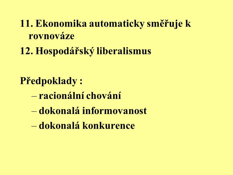 11. Ekonomika automaticky směřuje k rovnováze 12. Hospodářský liberalismus Předpoklady : –racionální chování –dokonalá informovanost –dokonalá konkure