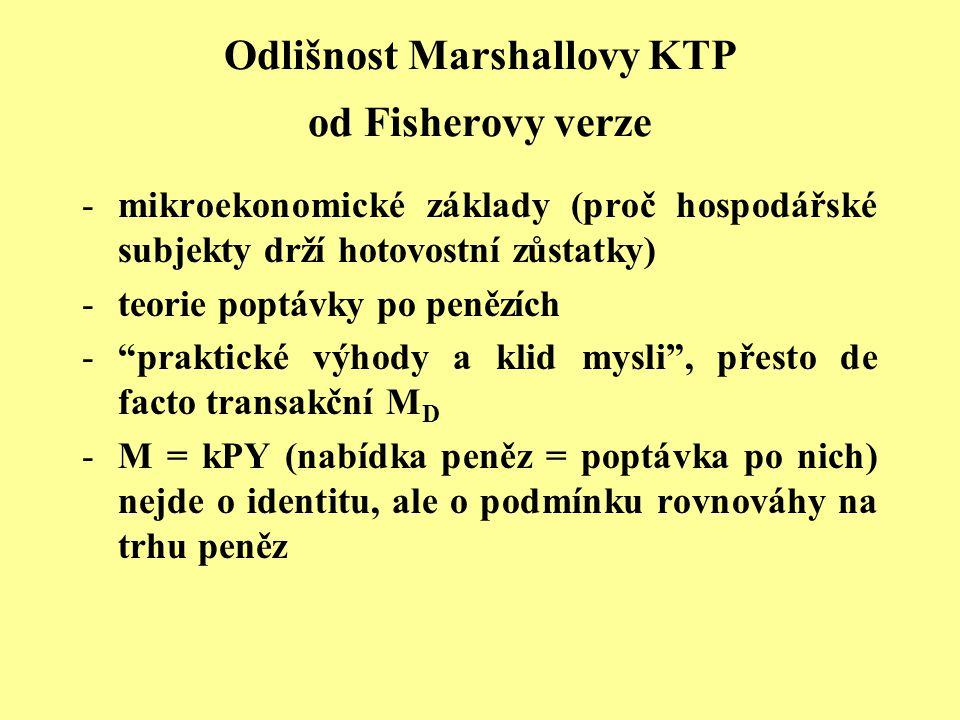 Odlišnost Marshallovy KTP od Fisherovy verze -mikroekonomické základy (proč hospodářské subjekty drží hotovostní zůstatky) -teorie poptávky po penězíc