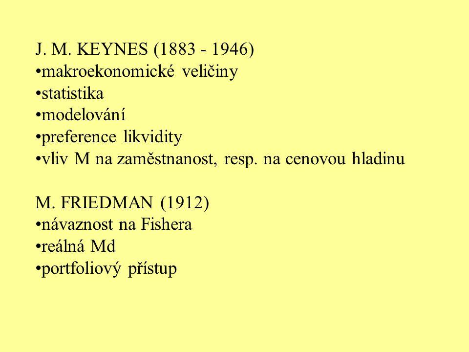 J. M. KEYNES (1883 - 1946) makroekonomické veličiny statistika modelování preference likvidity vliv M na zaměstnanost, resp. na cenovou hladinu M. FRI