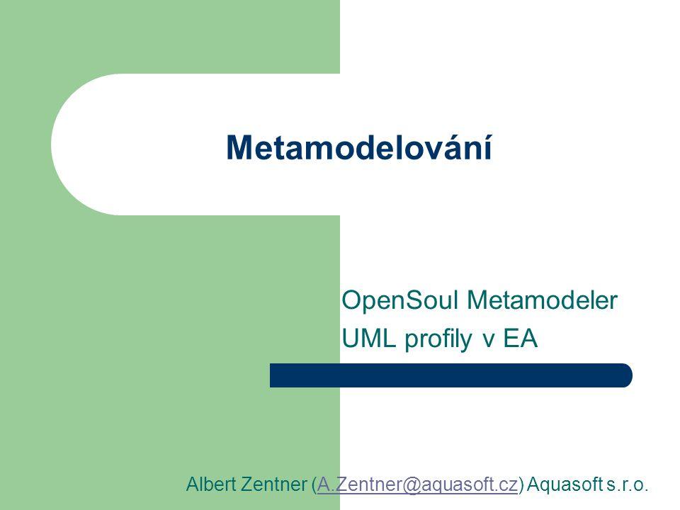 Metamodelování OpenSoul Metamodeler UML profily v EA Albert Zentner (A.Zentner@aquasoft.cz) Aquasoft s.r.o.A.Zentner@aquasoft.cz