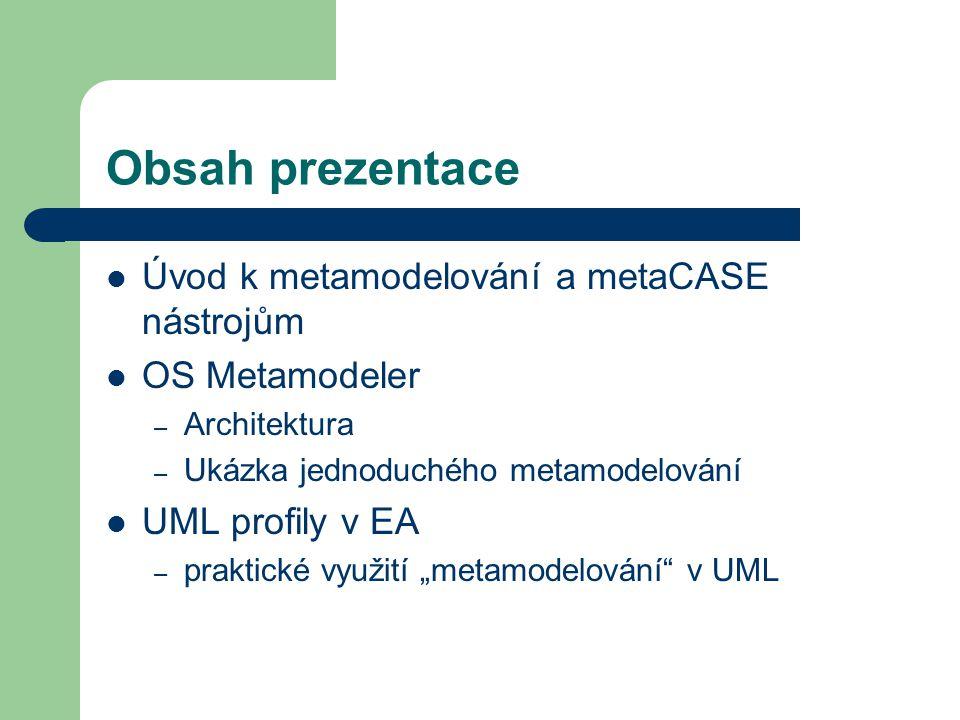 """Obsah prezentace Úvod k metamodelování a metaCASE nástrojům OS Metamodeler – Architektura – Ukázka jednoduchého metamodelování UML profily v EA – praktické využití """"metamodelování v UML"""