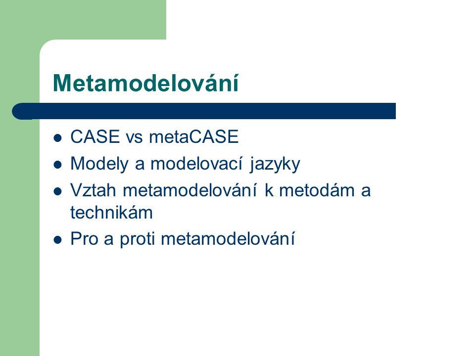 Metamodelování CASE vs metaCASE Modely a modelovací jazyky Vztah metamodelování k metodám a technikám Pro a proti metamodelování