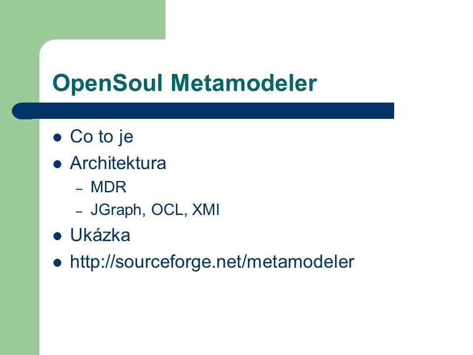 OpenSoul Metamodeler Co to je Architektura – MDR – JGraph, OCL, XMI Ukázka http://sourceforge.net/metamodeler