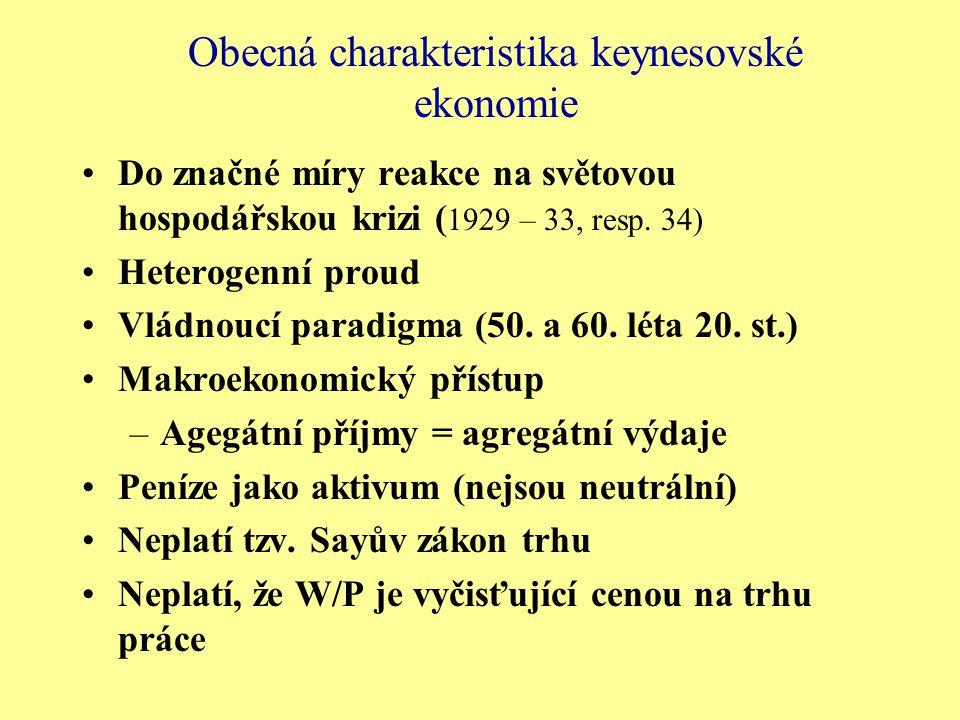Obecná charakteristika keynesovské ekonomie Do značné míry reakce na světovou hospodářskou krizi ( 1929 – 33, resp. 34) Heterogenní proud Vládnoucí pa
