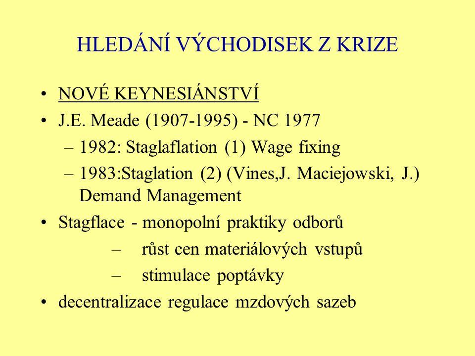 HLEDÁNÍ VÝCHODISEK Z KRIZE NOVÉ KEYNESIÁNSTVÍ J.E. Meade (1907-1995) - NC 1977 –1982: Staglaflation (1) Wage fixing –1983:Staglation (2) (Vines,J. Mac