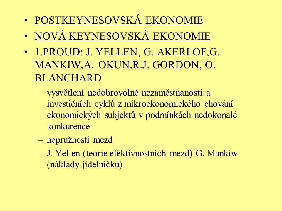 POSTKEYNESOVSKÁ EKONOMIE NOVÁ KEYNESOVSKÁ EKONOMIE 1.PROUD: J. YELLEN, G. AKERLOF,G. MANKIW,A. OKUN,R.J. GORDON, O. BLANCHARD –vysvětlení nedobrovolné