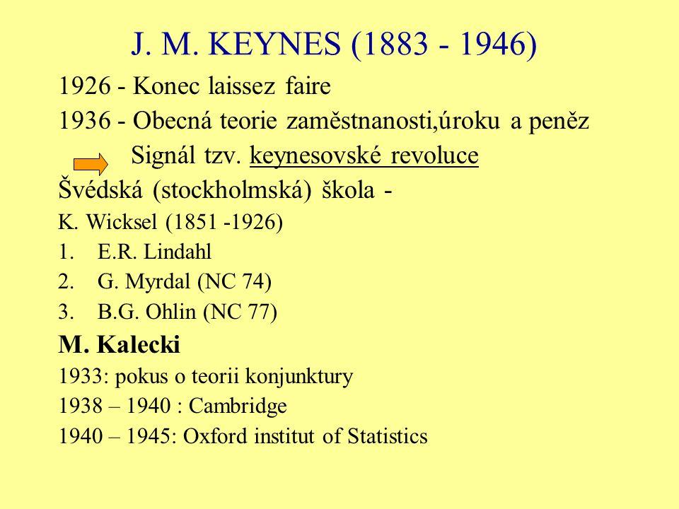 J. M. KEYNES (1883 - 1946) 1926 - Konec laissez faire 1936 - Obecná teorie zaměstnanosti,úroku a peněz Signál tzv. keynesovské revoluce Švédská (stock