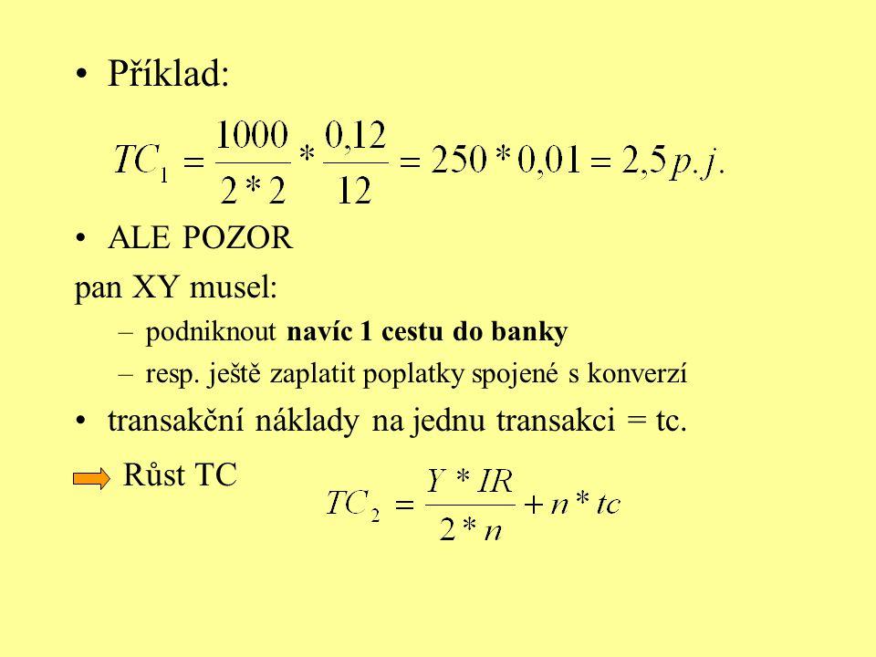 Příklad: ALE POZOR pan XY musel: –podniknout navíc 1 cestu do banky –resp. ještě zaplatit poplatky spojené s konverzí transakční náklady na jednu tran