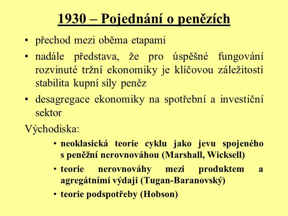 1930 – Pojednání o penězích přechod mezi oběma etapami nadále představa, že pro úspěšné fungování rozvinuté tržní ekonomiky je klíčovou záležitostí st