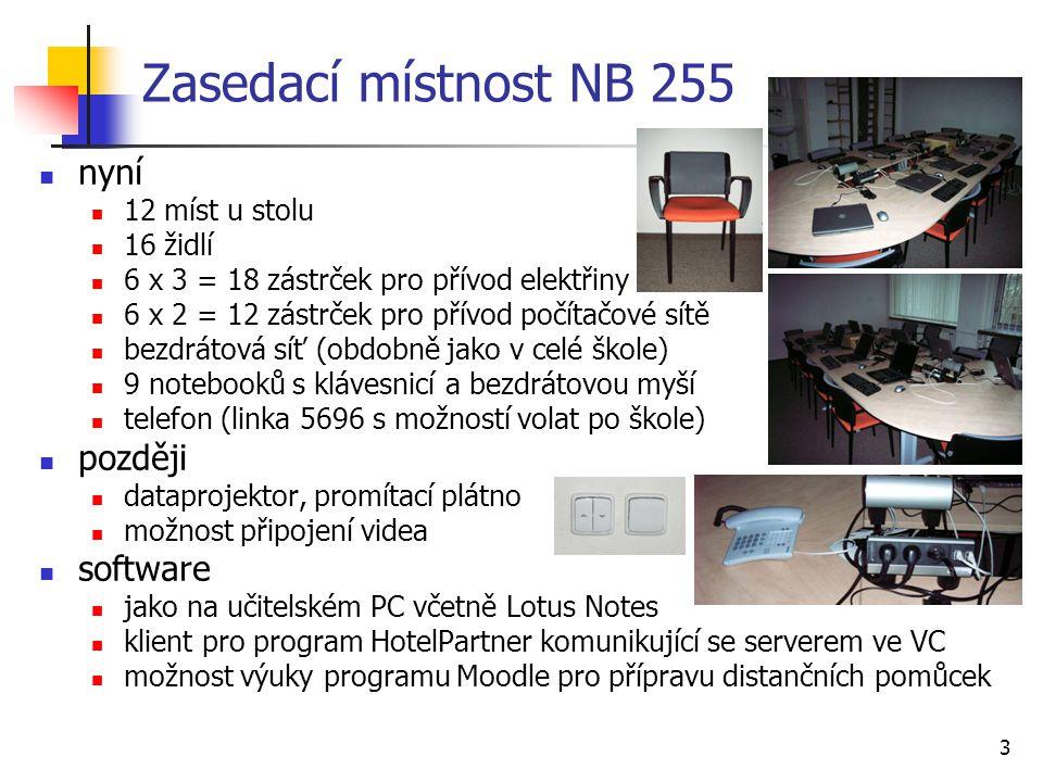 3 Zasedací místnost NB 255 nyní 12 míst u stolu 16 židlí 6 x 3 = 18 zástrček pro přívod elektřiny 6 x 2 = 12 zástrček pro přívod počítačové sítě bezdr