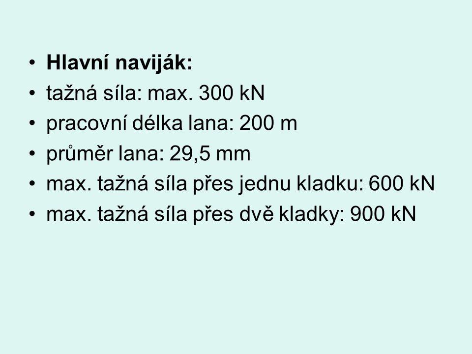 Hlavní naviják: tažná síla: max. 300 kN pracovní délka lana: 200 m průměr lana: 29,5 mm max.