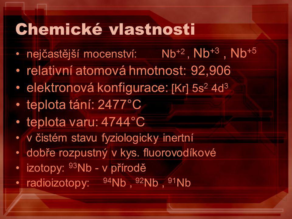 Chemické vlastnosti nejčastější mocenství:Nb +2, Nb +3, Nb +5 relativní atomová hmotnost:92,906 elektronová konfigurace: [Kr] 5s 2 4d 3 teplota tání: 2477°C teplota varu: 4744°C v čistém stavu fyziologicky inertní dobře rozpustný v kys.