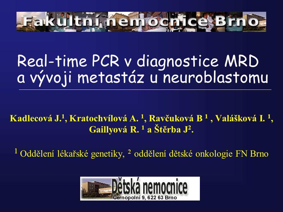 Real-time PCR v diagnostice MRD a vývoji metastáz u neuroblastomu Kadlecová J. 1, Kratochvílová A. 1, Ravčuková B 1, Valášková I. 1, Gaillyová R. 1 a
