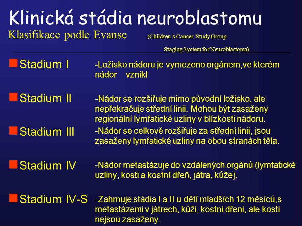 Klinická stádia neuroblastomu Klasifikace podle Evanse (Children´s Cancer Study Group Staging System for Neuroblastoma) n Stadium I n Stadium II n Sta