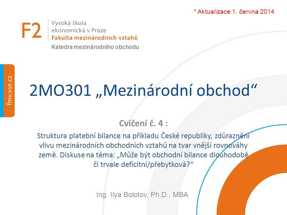 """2MO301 """"Mezinárodní obchod"""" Cvičení č. 4 : Struktura platební bilance na příkladu České republiky, zdůraznění vlivu mezinárodních obchodních vztahů na"""