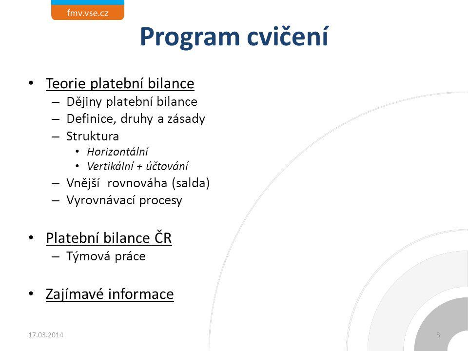 Program cvičení Teorie platební bilance – Dějiny platební bilance – Definice, druhy a zásady – Struktura Horizontální Vertikální + účtování – Vnější r