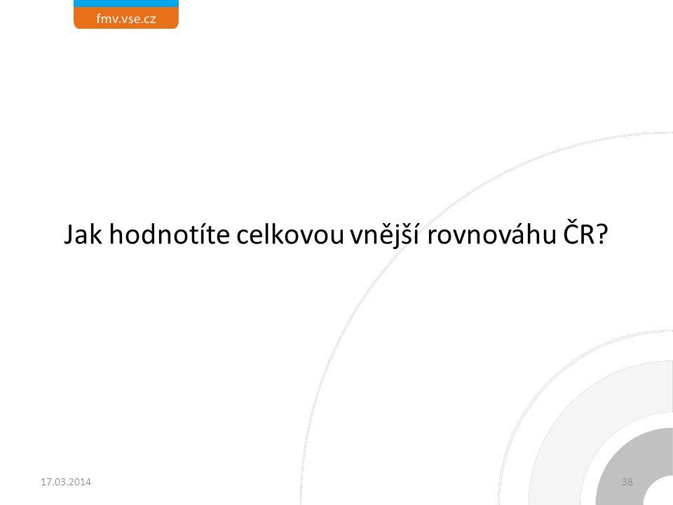 Jak hodnotíte celkovou vnější rovnováhu ČR? 17.03.201438